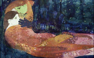 2-Amori-spaziali-olio-foglia-d'oro-e-collage-su-tavola-2000-collezione-privata