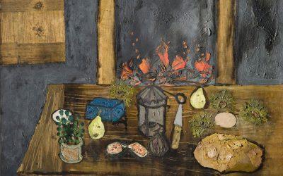 8-Vecchia-cucina,-1963-olio-e-colage-su-tavola-,-collezione-privata-