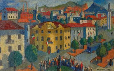 Il comizio o Corteo a Torino, 1952 olio su tela, collezione privata copia